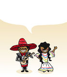Mexican cartoon couple social media buble Royalty Free Stock Images