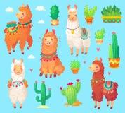 Mexican cartoon cute alpaca lama with white wool. Peru desert ll Stock Photos