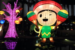 Mexican cartoon light display. For moon festival Royalty Free Stock Photos