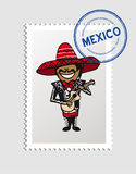 Mexican cartoon person postal stamp Royalty Free Stock Photos