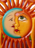 Mexican carving of the sun and the moon Royalty Free Stock Photo