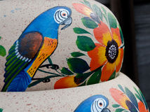 Mexican ceramic pots,blue birds variety Royalty Free Stock Images