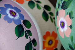 Mexican ceramic pots, green and purple variety Royalty Free Stock Image