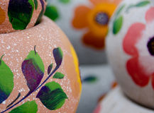 Mexican ceramic pots, large pink and purple variety Royalty Free Stock Images