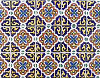 Mexican ceramic tile. In dark blue and yellow, can be tiled Stock Photo