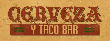 Mexico Bar Sign. Mexican Cerveza Beer Taco Bar sign hand painted wall stucco burritos frioli beach pub Cinco de Mayo