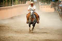 Mexican charros horseman galloping in ring, TX, US Royalty Free Stock Photos