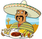 Mexican Chef. Presenting a delicious selection of Mexican food Comes in an easy edit layered illustrator CS file