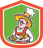 Mexican Chef Cook Shield Cartoon Royalty Free Stock Images