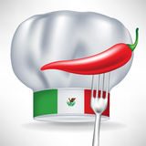 Mexican chef hat with hot pepper in fork  Royalty Free Stock Image