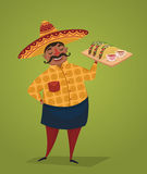 Mexican chef with tacos, vector cartoon character Royalty Free Stock Photography