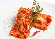 Mexican chicken enchiladas with spicy tomato sauce. And cheese on white plate Royalty Free Stock Images