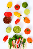 Mexican chicken fajita with peppers lettuce and onion on white background Stock Photography