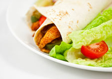 Mexican chicken fajita wraps with salad Stock Image