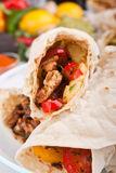 Mexican chicken fajitas. Traditional mexican chicken fajitas close-up Royalty Free Stock Photo
