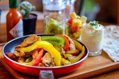 Mexican chicken fajitas stock photos