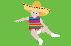 Mexican Child. A image of a child dressed in a sombrero and Mexican blanket stock illustration
