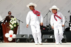 Mexican children. In traditional costume perform folk dance at the National Sovereignty and Children Day festival at Maltepe University on April 25, 2010 in Stock Images