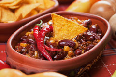 Mexican chili bean. Mexican chili con carne with kidney bean and corn Stock Photography