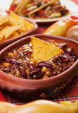 Mexican chili bean. Mexican chili con carne with kidney bean and corn Stock Photo