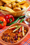 Mexican chili beans. Delicious mexican chili with kidney bean, corn and ground beef Stock Photos
