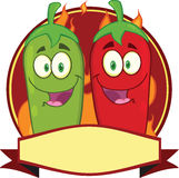 Mexican Chili Peppers Cartoon Mascot Label Royalty Free Stock Photos