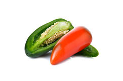 Mexican chili peppers or Jalapenos Chili Peppers on white Stock Images