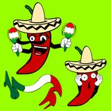 Mexican chilli papper cartoon4 Royalty Free Stock Images