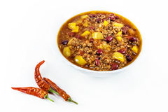 Mexican chilly con carne with meat and black beans. In a white bowl stock photos