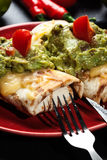 Mexican chimichanga with guacamole dip Royalty Free Stock Photos