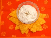 Mexican chips with a dip Royalty Free Stock Photo