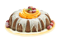 Mexican Chocolate Bundt Cake. Garnished with orange slices, sugar frosted grapes and mint Stock Images
