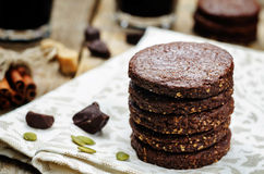 Mexican chocolate Pepita shortbread cookies Stock Photography