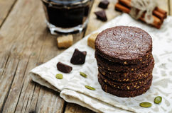 Mexican chocolate Pepita shortbread cookies Royalty Free Stock Images