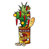 Mexican Christmas Tree. A cactus decorated like a christmas tree is growing inside a can of beans Royalty Free Stock Photos