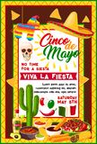 Mexican Cinco de Mayo banner with holiday symbols. Cinco de Mayo mexican fiesta party banner with traditional holiday symbols. Sombrero hat, chili pepper or Royalty Free Stock Photo