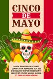 Mexican Cinco de Mayo card with skull in sombrero. Cinco de Mayo mexican holiday greeting card for fiesta party template. Festival skull in sombrero hat festive