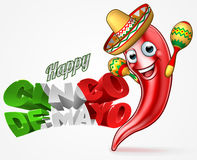 Mexican Cinco De Mayo Chilli Pepper Design. A Happy Cinco De Mayo Mexican design with red chilli pepper cartoon character in sombrero straw hat holding maracas Royalty Free Stock Photo