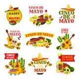 Mexican Cinco de Mayo fiesta party badge design. Mexican Cinco de Mayo fiesta party badge. Sombrero hat, maracas and chili pepper or jalapeno, tequila margarita Stock Image