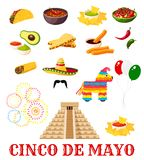 Mexican Cinco de Mayo fiesta party food icon. Mexican fiesta party food icon set for Cinco de Mayo holiday. Chili pepper, sombrero and avocado guacamole Royalty Free Stock Photo