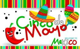 Mexican Cinco de Mayo. Fiesta party greeting card. invitation, party, greeting card, fiesta, bar, restaurant, menu Royalty Free Stock Photography