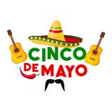 Mexican Cinco de Mayo fiesta party greeting card. Sombrero hat, chili pepper and flamenco guitar, jalapeno and moustache isolated icon for latin american Stock Images