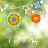 Mexican Cinco de Mayo greeting card, invitation. Party decoration, string of light bulbs, paper flags and colorful. Lanterns. Modern blurred background, vector Stock Photos