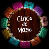 Mexican Cinco de Mayo greeting card, invitation. Party decoration, wreath of lights, handmade cut paper flags. Old. Wooden background, ector illustration Royalty Free Stock Image