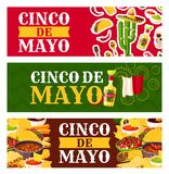 Mexican Cinco de Mayo holiday food greeting banner. Mexican Cinco de Mayo holiday festive symbols and fiesta party food greeting banner. Chili pepper, margarita Royalty Free Stock Photography