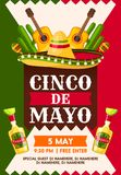 Mexican Cinco de Mayo holiday fiesta party banner. Template. Sombrero hat, maracas and tequila bottle, flamenco guitar and cactus invitation card design with Royalty Free Stock Photos