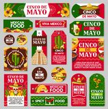 Mexican Cinco de Mayo holiday gift tag and label. Mexican Cinco de Mayo holiday tag and label set. Fiesta party sombrero hat, maracas and chili pepper or Stock Image