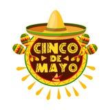 Mexican Cinco de Mayo holiday sombrero icon. Mexican Cinco de Mayo holiday sombrero, maracas and pepper greeting card. Latin american fiesta party hat, maracas Royalty Free Stock Photos