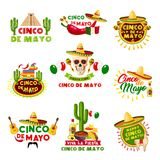 Mexican Cinco de Mayo holiday vector Mexico icons. Cinco de Mayo Mexican holiday celebration icons. Vector set of Mexico Aztec pyramid, sombrero hat and skull