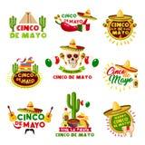 Mexican Cinco de Mayo holiday vector Mexico icons. Cinco de Mayo Mexican holiday celebration icons. Vector set of Mexico Aztec pyramid, sombrero hat and skull royalty free illustration